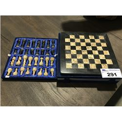 SOLID STONE/MARBLE CHESS SET WITH STORAGE CASE