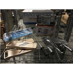 SHELF LOT OF ASSTD RESTAURANT EQUIPMENT BUTCHER KNIVES, POTATO SLICER, CUTTING BOARD & MANDOLINS