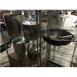 GROUP OF ASSTD COOKWARE, POTS, WOKS, FRY-PAN, PRESSURE COOKER