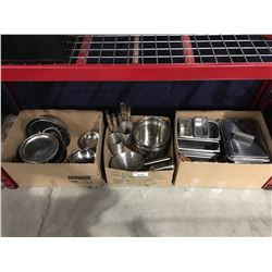 3 BOXES FULL ASSTD RESTAURANT COOK & SERVING WARE