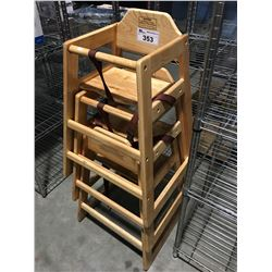 GROUP OF 3 WOODEN HIGHCHAIRS