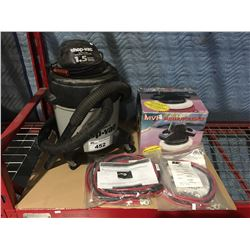 SHOP VAC & MVP BUFFER POLISHER & 3 ELECTRICAL BATTERY CABLES