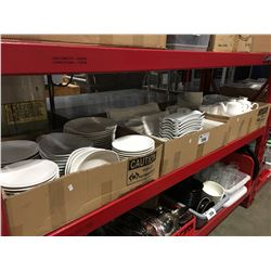3 BOXES OF WHITE COMMERCIAL DINNERWARE PCS, DISH SETS, CUPS ECT.