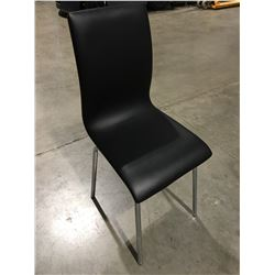 CONTEMPORARY DINING CHAIR BENT WOOD TEAK FINISH WITH CHROME LEGS & BLACK VINYL UPHOLSTERED SEAT