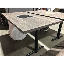 MISTER INDUCTION CONTEMPORARY  WALL MOUNT BOOTH TABLE WITH INDUCTION COOKTOP CENTRE  -  5' X 3'