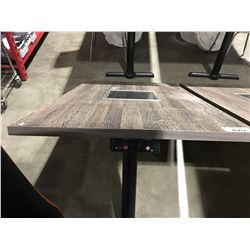 MISTER INDUCTION CONTEMPORARY  WALL MOUNT BOOTH TABLE WITH INDUCTION COOKTOP CENTER  -  5' X 3'