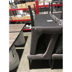 PAIR OF UPHOLSTERED RESTAURANT BOOTH TABLE SEATS (UPHOLSTERY REQUIRES CLEANING)