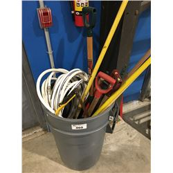 2 GREY RUBBERMAID GARBAGE CANS & ASSTD GARDEN TOOLS, GARDEN HOSE, AXE, SAW, MACHETE ECT.