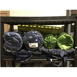 2 SLEEPING BAGS, 2 THERMA REST CUSHIONED MATS, YOGA MAT & 2 PORTABLE SEAT CUSHIONS