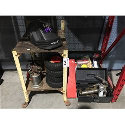 LOT OF ASSTD TOOLS, HARDWARE & MISC. GREASE GUN, 2 VINTAGE TORCHES, 4 UTILITY TIRES, WELDERS