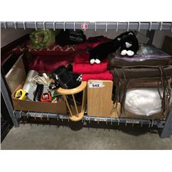 SHELF LOT FILLED WITH ASSTD HOUSEHOLD ITEMS - DECORATIVE PIECES, CUSHIONS ECT.