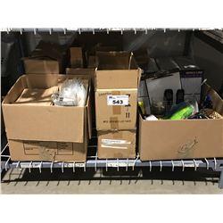 SHELF LOT ASSTD OFFICE SUPPLIES - MINI SHAMPOOS, PAPER BAGS ECT.