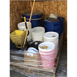 PALLET LOT OF BLUE PLASTIC GARBAGE CANS, WHITE BUCKET, LIQUID SOAP CLEANERS, DRY SOAP CLEANERS ECT.