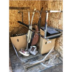 PALLET LOT RACKING, SHELF RACKING, SHELF RACKING HOOKS, 2 ELECTRIC VACUUMS & BOX OF MISC. HARDWARE