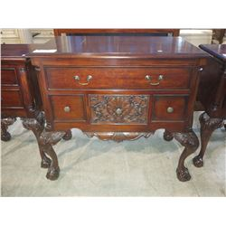 MAHOGANY FINISH CHIPPENDALE BALL & CLAW FOOT 4-DRAWER DRESSER