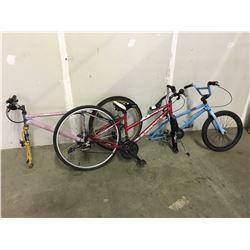 RED SUPERCYCLE SOLARIS MOUNTAIN BIKE, PINK UNKNOWN MOUNTAIN BIKE, BLUE BMX BIKE