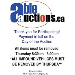 IMPOUND VEHICLE REMOVAL IS BY THURSDAY BY 3:00PM