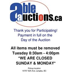 ALL ITEMS MUST BE REMOVED BY TUESDAY 4:00PM *CLOSED SUNDAY & MONDAY*