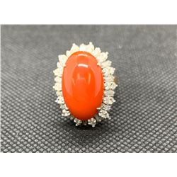 14K YG AND WHITE GOLD RED CORAL AND DIAMOND SET DRESS RING RV 4600.00