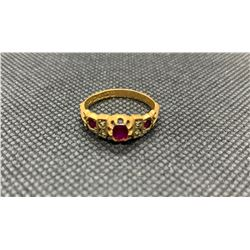 18K LADIES RING WITH RUBIES AND DIAMONDS RV 550.00