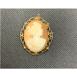 9K BROACH WITH CAMEO RV 425.00