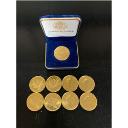 8- 1 OUNCE $50 GOLD COINS, 1 US $50 GOLD COIN
