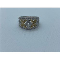 LADIES 14K WHITE AND YELLOW GOLD RING WITH 75 DIAMONDS RV $3,830.00