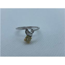 LADIES 18K WHITE AND YELLOW GOLD RING WITH 6 DIAMONDS RV $3,390.00