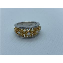 LADIES 14K WHITE AND YELLOW GOLD RING WITH 5 DIAMONDS RV $3,200.00