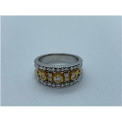 LADIES 14K WHITE AND YELLOW GOLD RING WITH 7 DIAMONDS RV $3,040.00