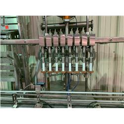 8 BOTTLE STAINLESS STEEL LINE FILLER WITH CONVEYOR SECTION & MOTOR CONTROLS
