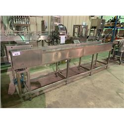 "9'10"" LONG 8"" WIDE STAINLESS STEEL / PLASTIC POWERED FIRST LINE INSPECTION CONVEYOR SYSTEM"