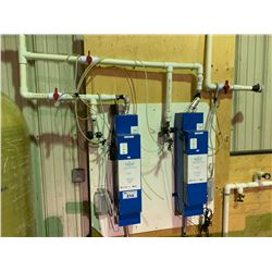 2 X HALLETT CROSSFIRE UV PURIFICATION SYSTEM ON WALL WITH POWER & REGULATED PLASTIC PLUMBING