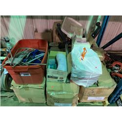 PALLET OF ASSORTED COMMERCIAL CONVEYOR SYSTEM PARTS & PUMP PARTS