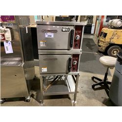 2 SOUTHBEND R24-3 STAINLESS STEEL 3 PAN COUNTERTOP STEAMER2 ON DUAL TRAY STAND