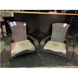 PAIR OF PATIO FLARE PF-CH338-BR WICKER BROWN / BEIGE FABRIC REGULAR MUSKOKA OUTDOOR PATIO CHAIRS