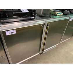 SILVER KING SKF48 DUAL DOOR MOBILE STAINLESS STEEL COUNTER HEIGHT COMMERCIAL FREEZER