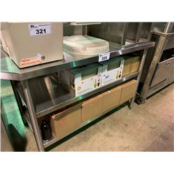 3 TIER STAINLESS STEEL RACK & ANGLED STAINLESS STEEL PREPARATION TABLE