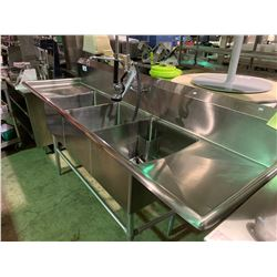 """TRIPLE SINK 89"""" X 25"""" STAINLESS STEEL COMMERCIAL DISHWASHER STATION WITH SPRAYER / FAUCET"""