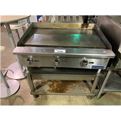 """BISHOP STAINLESS STEEL 36"""" X 28"""" COMMERCIAL GRIDDLE ON VAT TABLE"""