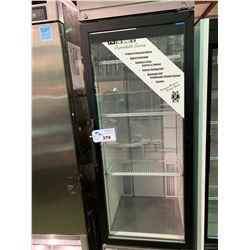 HABCO MODEL SE18SXG STAINLESS STEEL SINGLE DOOR GLASS FRONT MOBILE DISPLAY COOLER