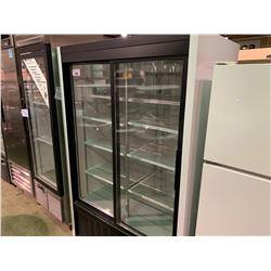 HABCO MODEL SE40EPLUS WHITE DOUBLE DOOR GLASS FRONT DISPLAY COOLER
