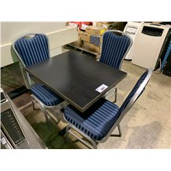 """DARK WOOD TOP 24"""" X 30"""" CAFE TABLE WITH 3 METAL FRAMED STACKING CAFE CHAIRS"""