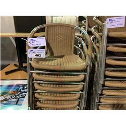5 CHROME / PLASTIC RATTAN STACKING ARM CHAIRS