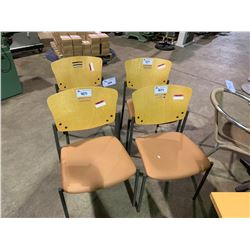 4 MAPLE BACK STACKING CAFE CHAIRS