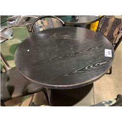 "DARK WOOD TOP 36"" ROUND CAFE TABLE"