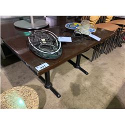 "DARK WOOD TOP 54"" X 32"" RESTAURANT TABLE"