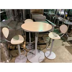 """MAPLE BAR HEIGHT 30"""" ROUND TABLE & 3 WHITE PLASTIC / METAL BAR CHAIRS"""