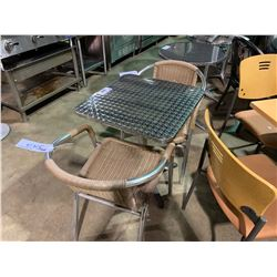 "CHROME TOP 24"" X 24"" SQUARE CAFE TABLE WITH 2 CHROME / PLASTIC RATTAN STACKING ARM CHAIRS"