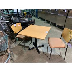 "MAPLE 30"" X 30"" SQUARE CAFE TABLE WITH 2 MAPLE BACK STACKING CAFE CHAIRS"